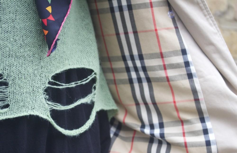 wildfox threadbare jumper shredded knitwear burberry trench coat lining fabric