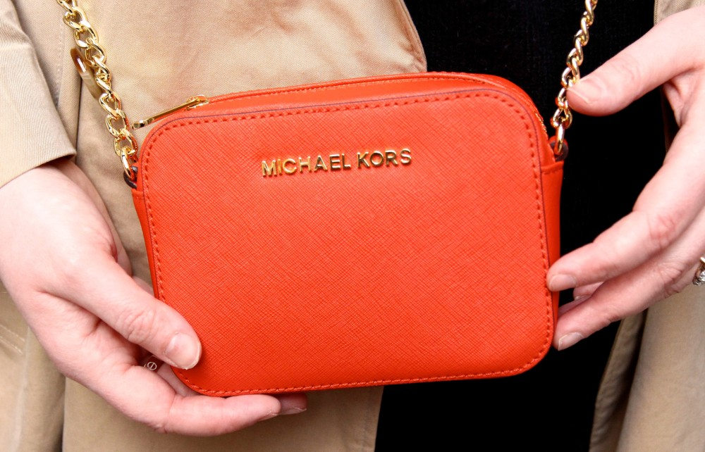micheal kors mini cross body handbag orange