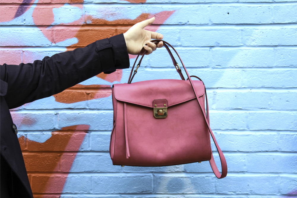 La Redoute shoot 15 mcm worldwide handbag pink christina handbag kelly bag style