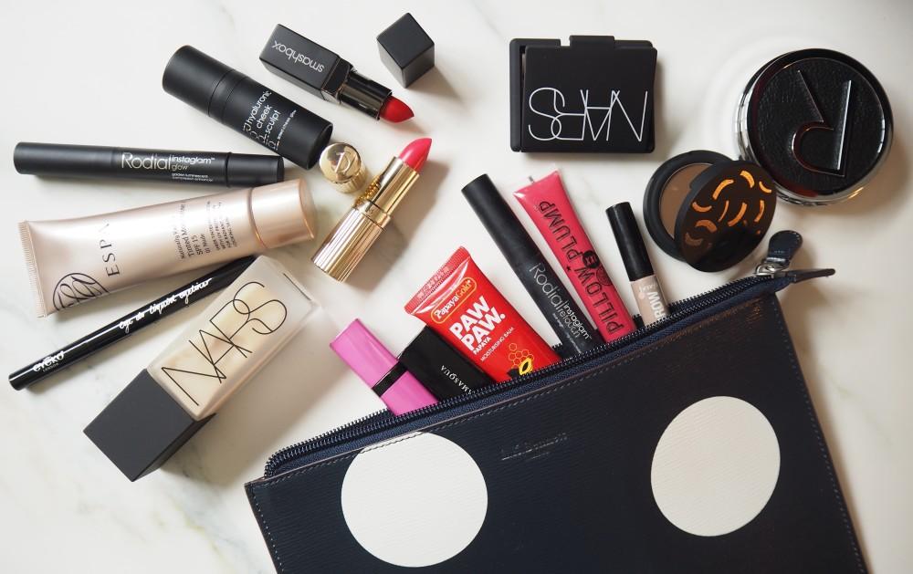 whats in my make up bag lk bennett polka dot  smash box lipstick radial bars espa tinted moisturiser