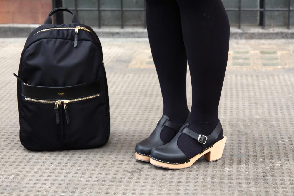 knomo london backpack black padded organised lotta of Stockholm clogs black fashion blog blogger