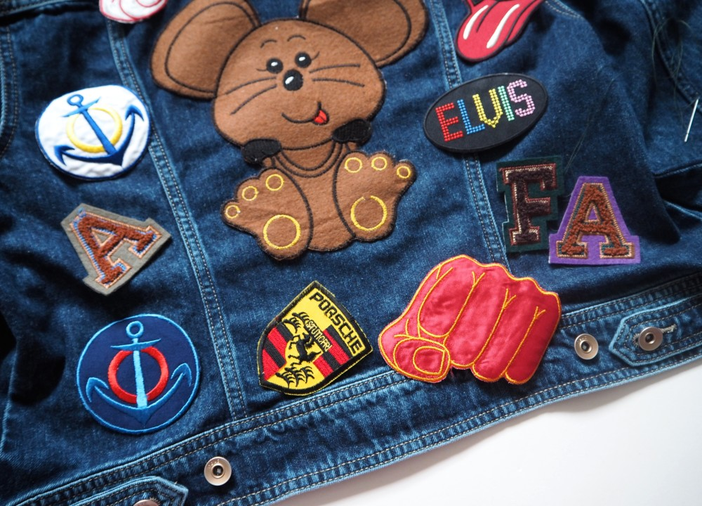work in progress vintage denim jacket with patches all over