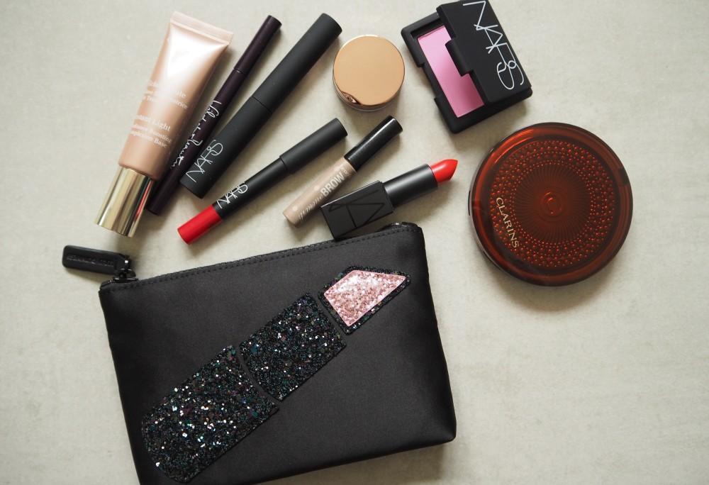 MAKE UP bag lulu guinness for asos lipstick front design glitter