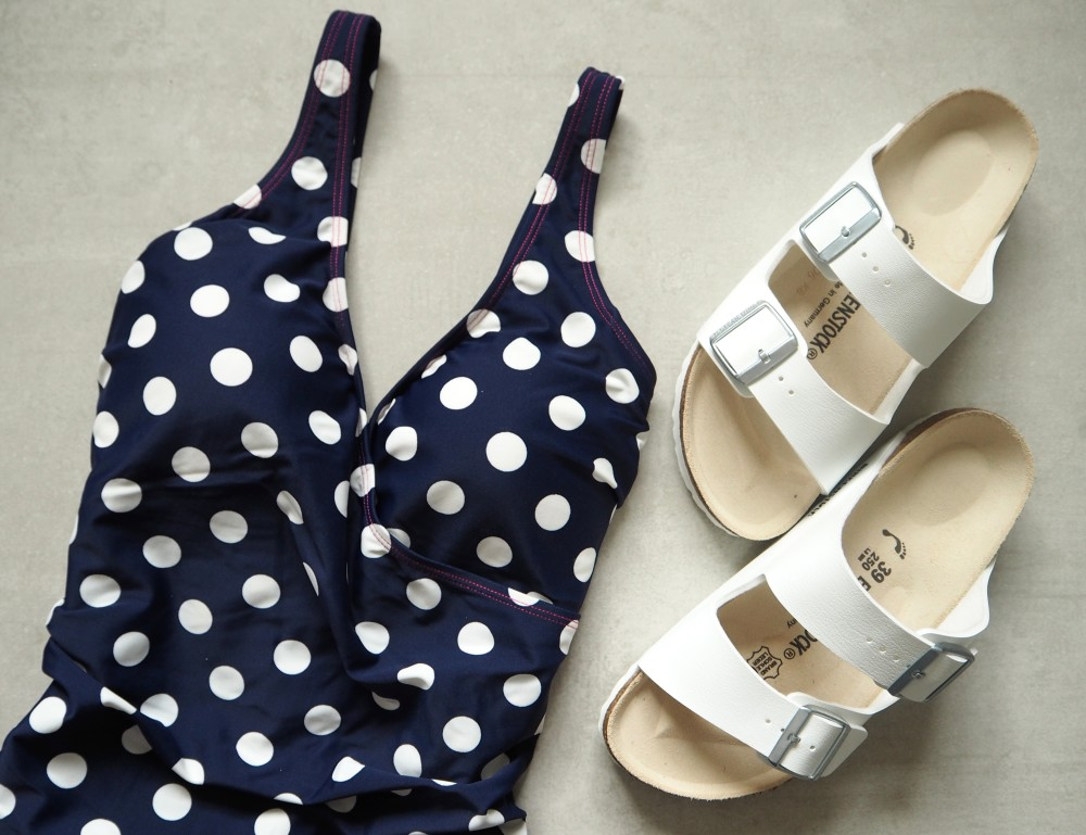 boden clothing navy blue polka dot swimsuit swimming costume