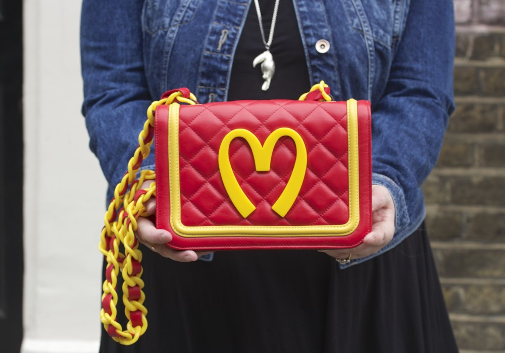 moschino mcdonalds macdonalds handbag red quilted chanel style