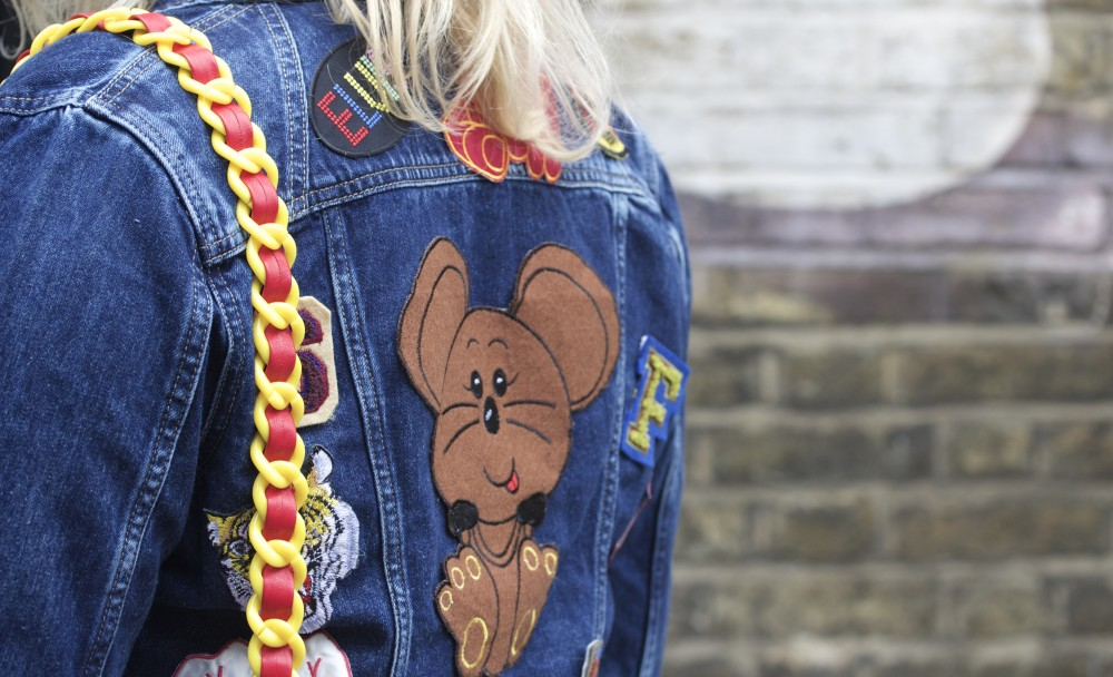 patched denim jacket with vintage patches hipster fashion blogger