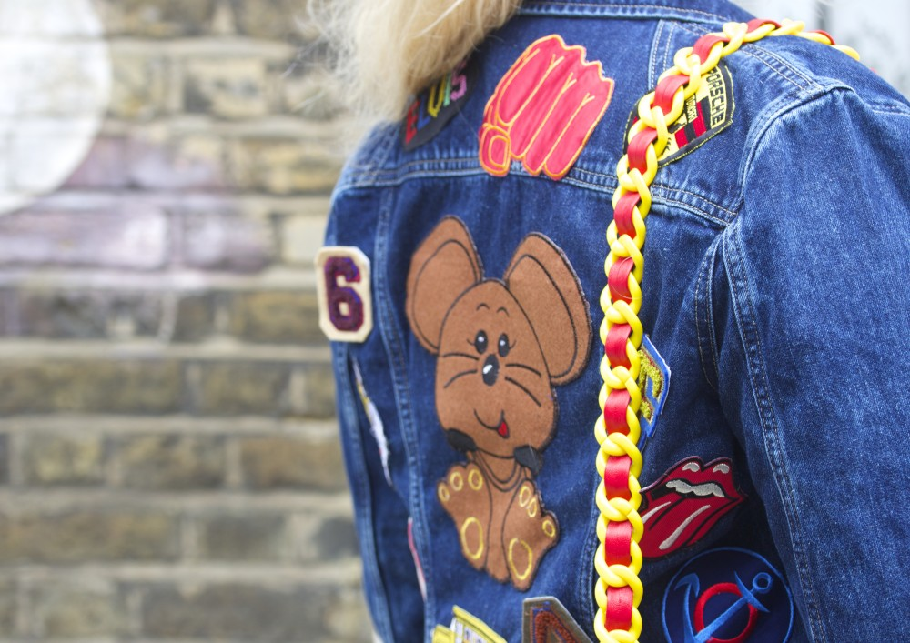 patched denim jacket with vintage patches hipster fashion ootd