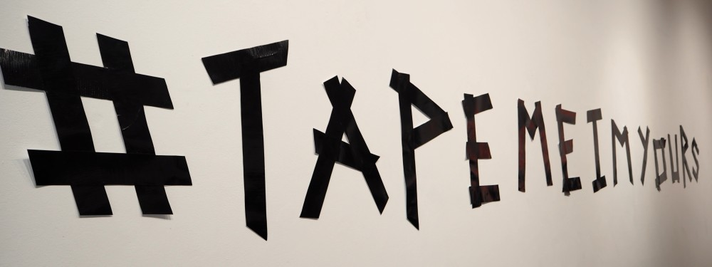 lulu guinness tape me i'm yours launch party TAPEMEIMYOURS tape face tape me backpack limited edition