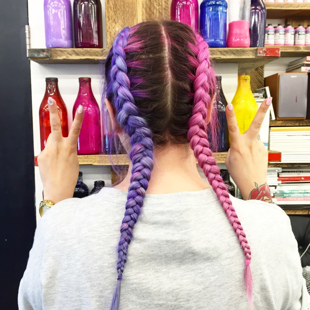 lazy kat blogger pink and purple two tone plaits