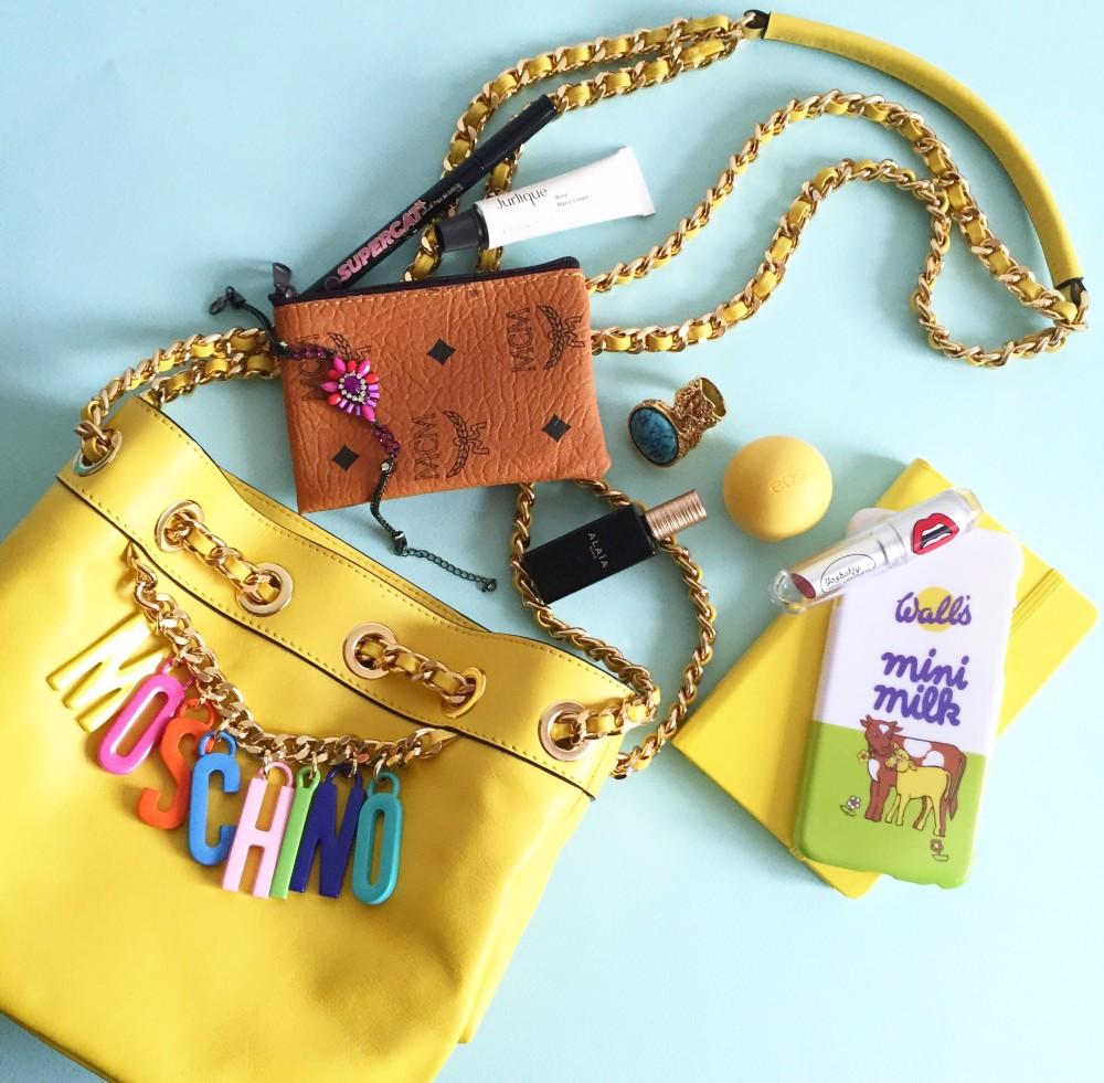 moschino yellow logo handbag colourful letters