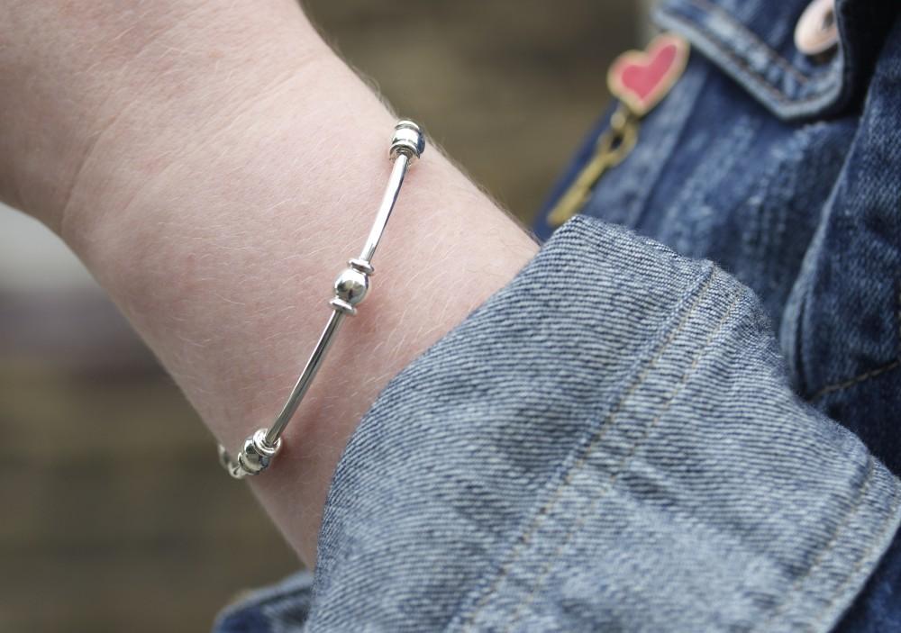 hiho silver bracelet beaded fashion blogger
