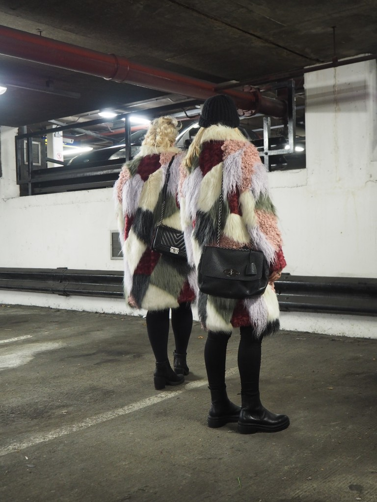 asos fur furry coats patchwork winter multicoloured fur