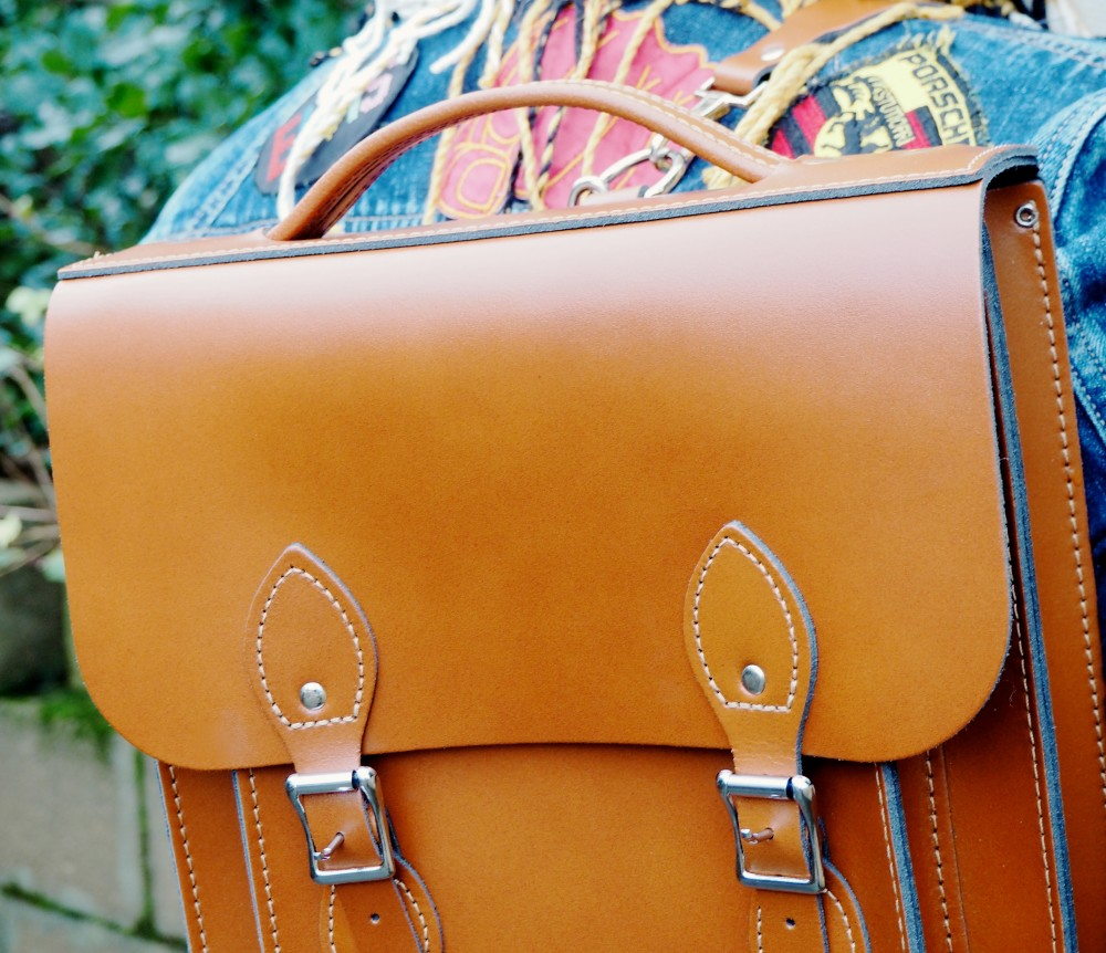 The Satchel Backpack leather satchel backpack brown tan leather british made