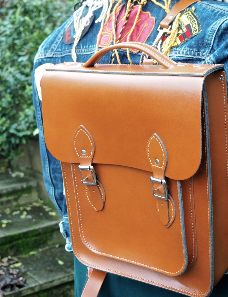 leather satchel backpack brown tan leather british made