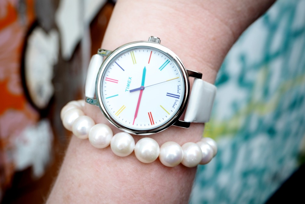 timex watch white with gold numbers