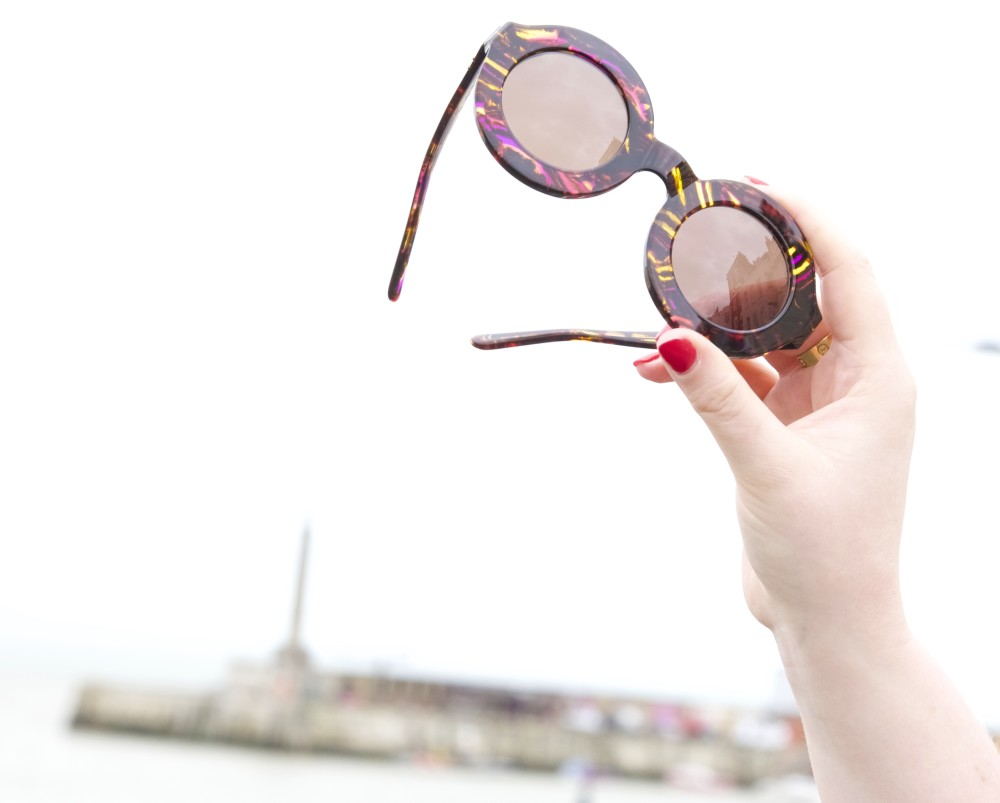 wildfox sunglasses purple round yellow tiger twiggy