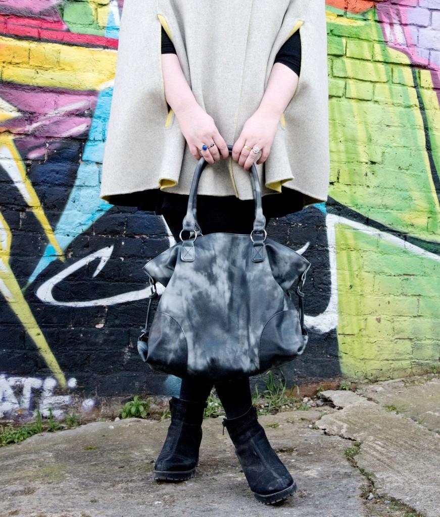 next black tie die handbag tote bag