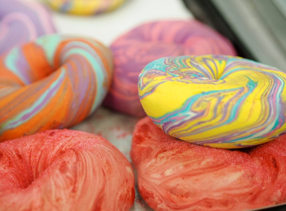 yellow-pink-purple-orange-rainbow-coloured-color-colored-bagels