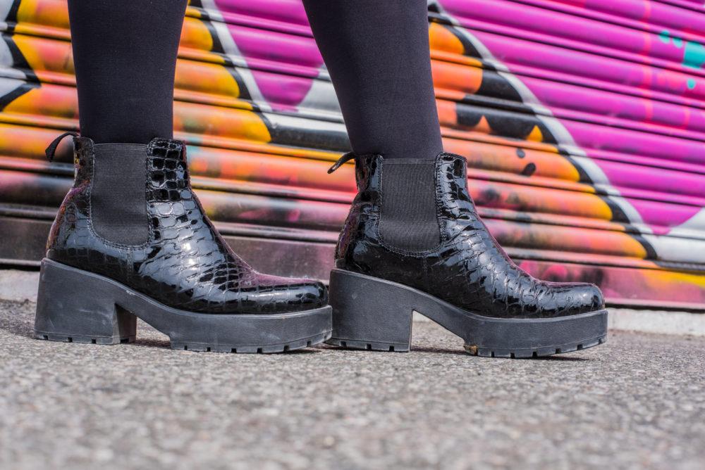 vagabond boots black mock croc platforms