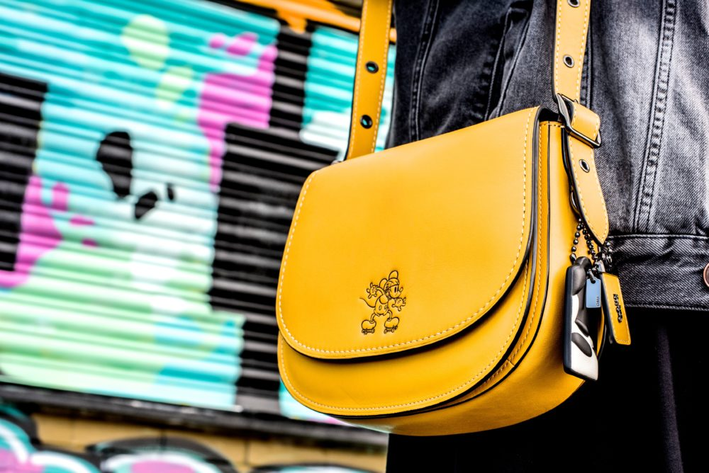 coach disney handbag yellow mustard color collaboration