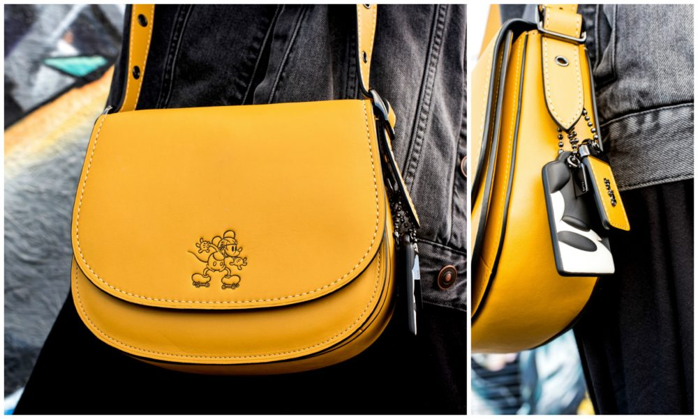 coach x disney yellow saddle bag handbag