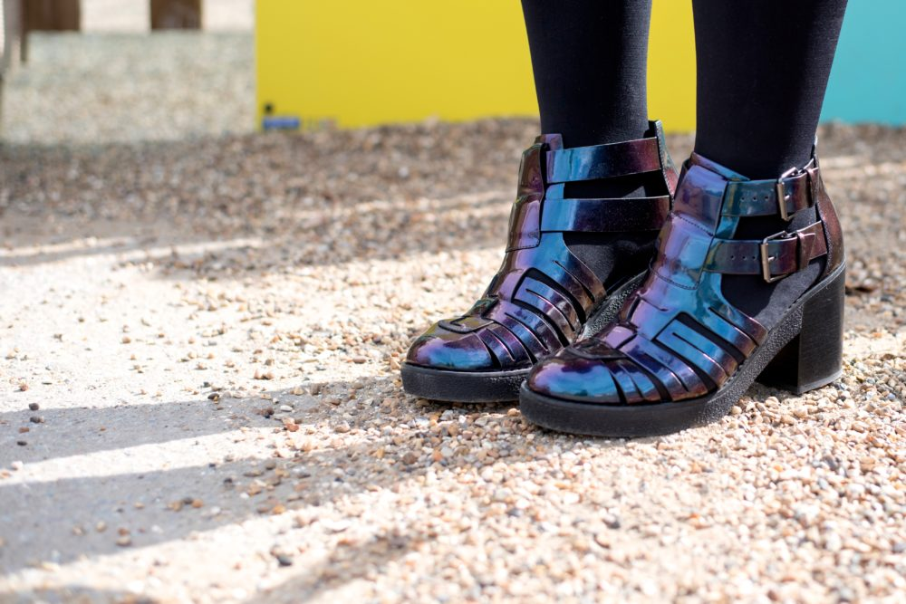 ASOS Boots puple navy oil slick