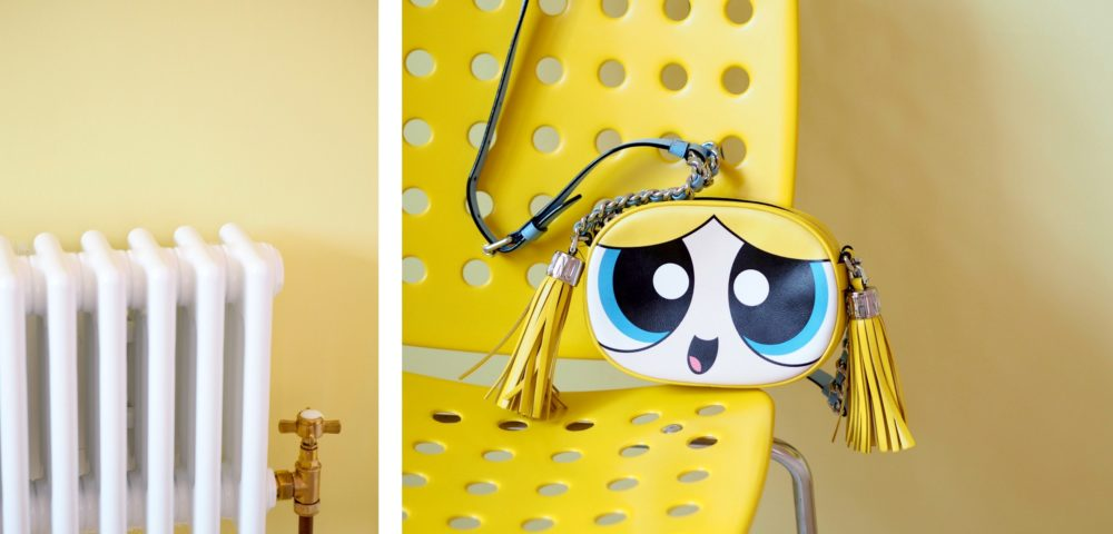 bubbles handbag on yellow chair