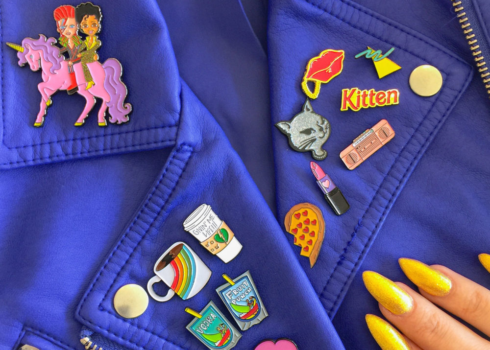 laser kitten brooches pin badges