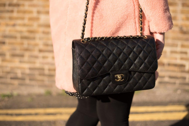 chanel handbag jumbo black caviar leather