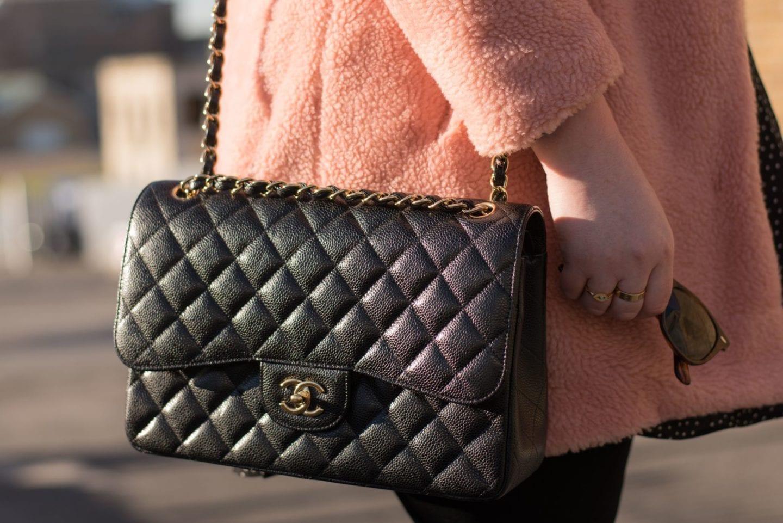 chanel handbag jumbo handbag black caviar blogger