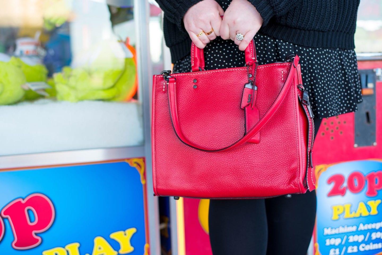coach go rogue handbag red tote bag