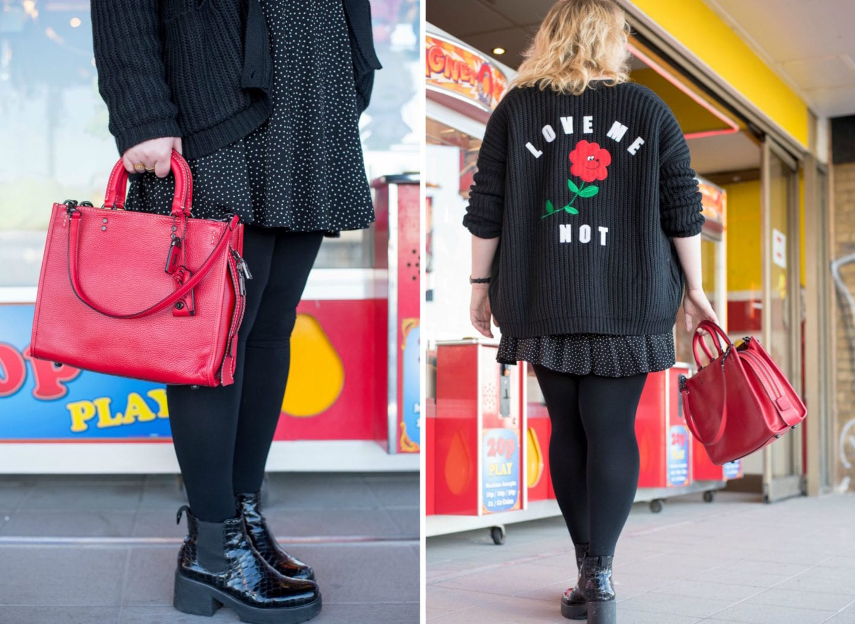 coach red rogue handbag tote bag handbag