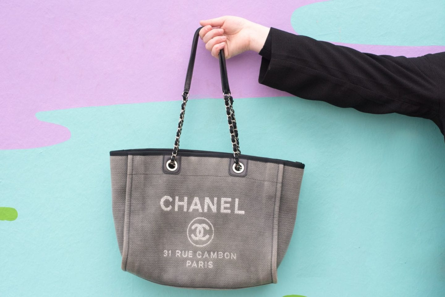 Chanel Deauville Tote Bag detail grey canvas tote bag 2012