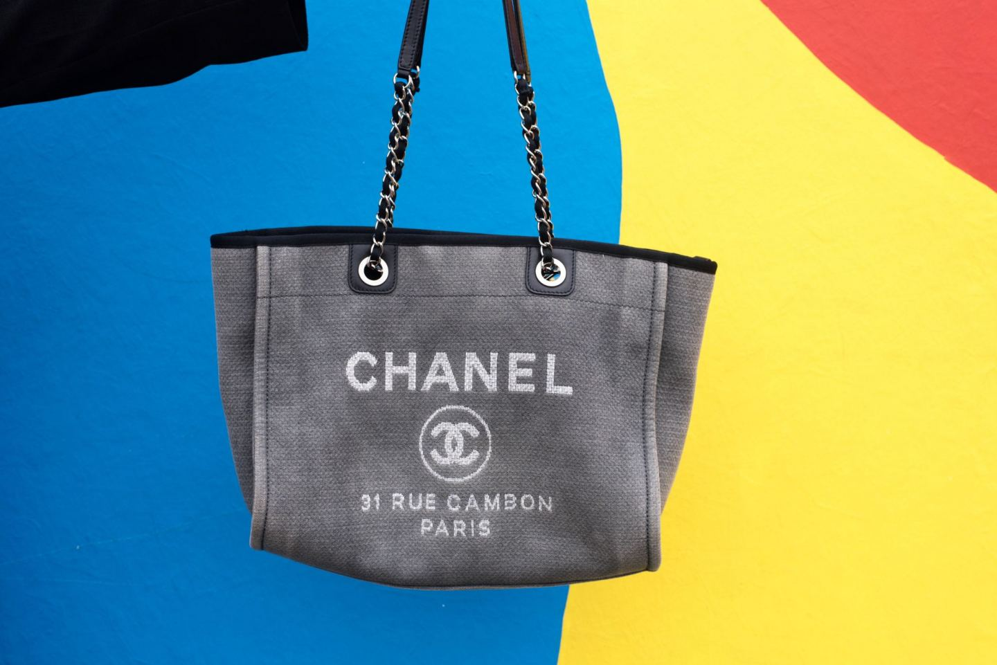 Chanel Deauville Tote Bag detail grey canvas tote bag handbag