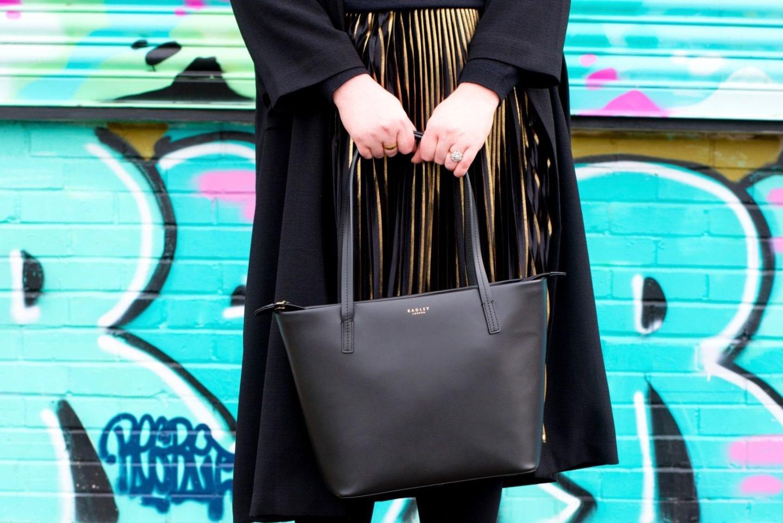 radley london black leather tote bag