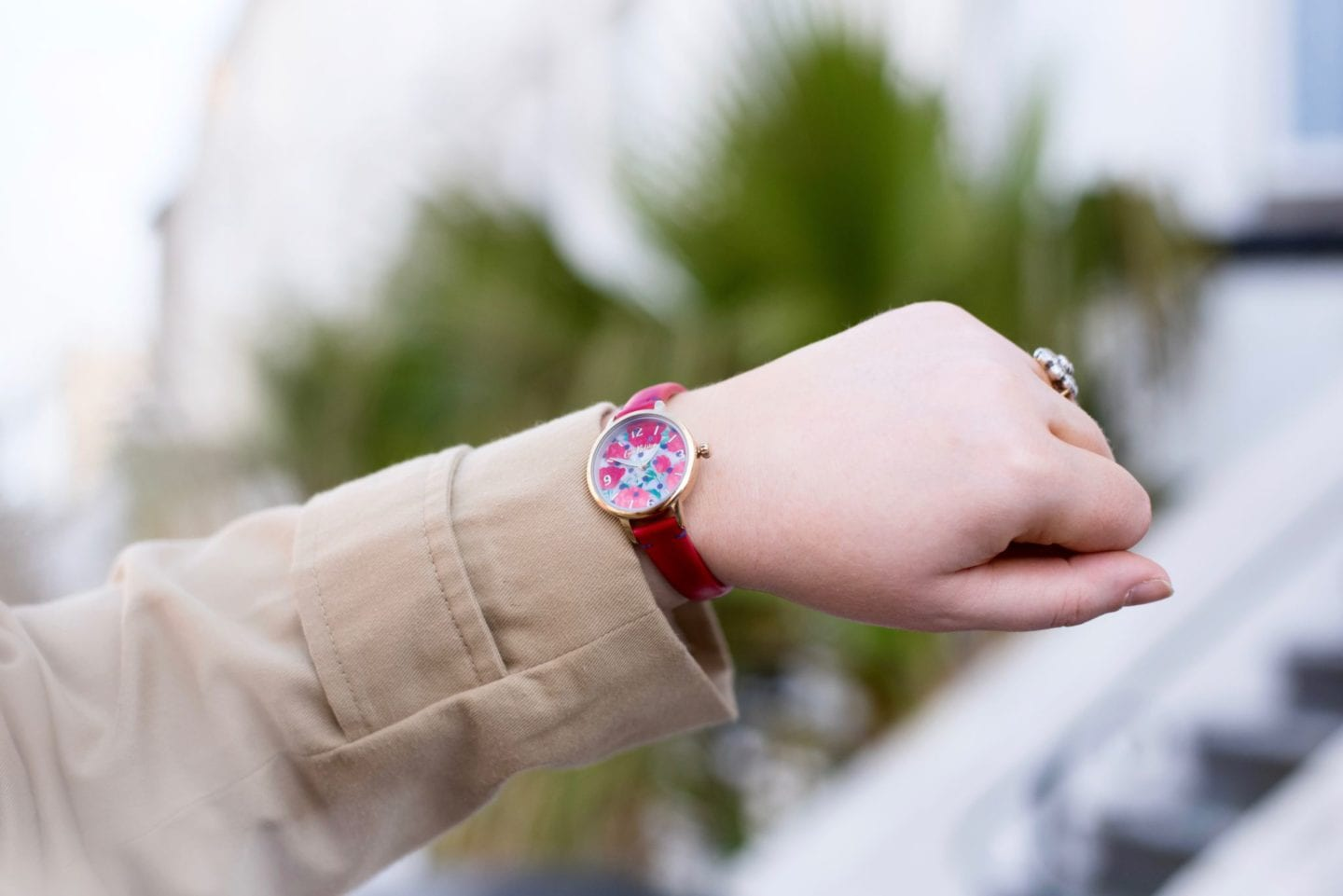 cath kidson red poppy flowers watch