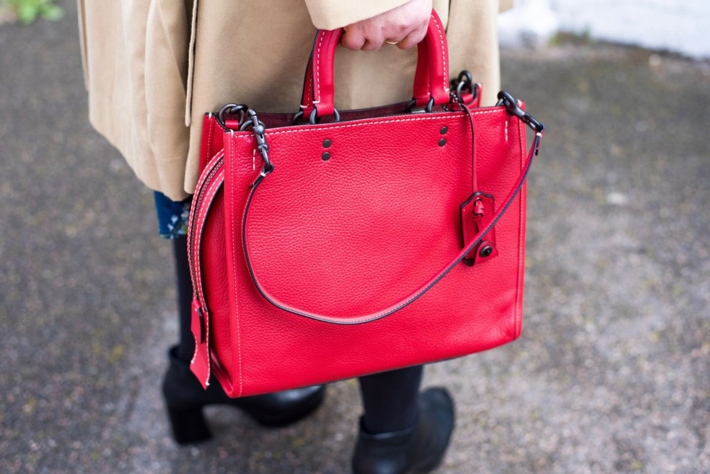 coach rogue handbag red leather tote bag fashion blogger