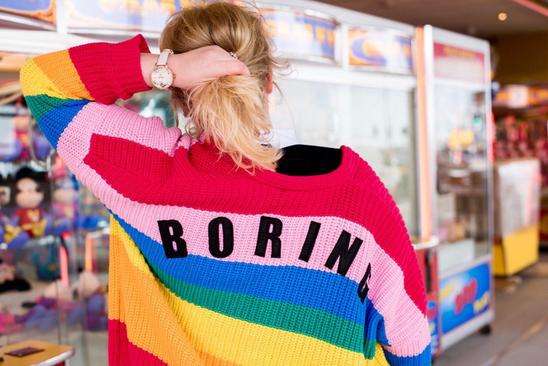 lazy oaf boring rainbow cardigan