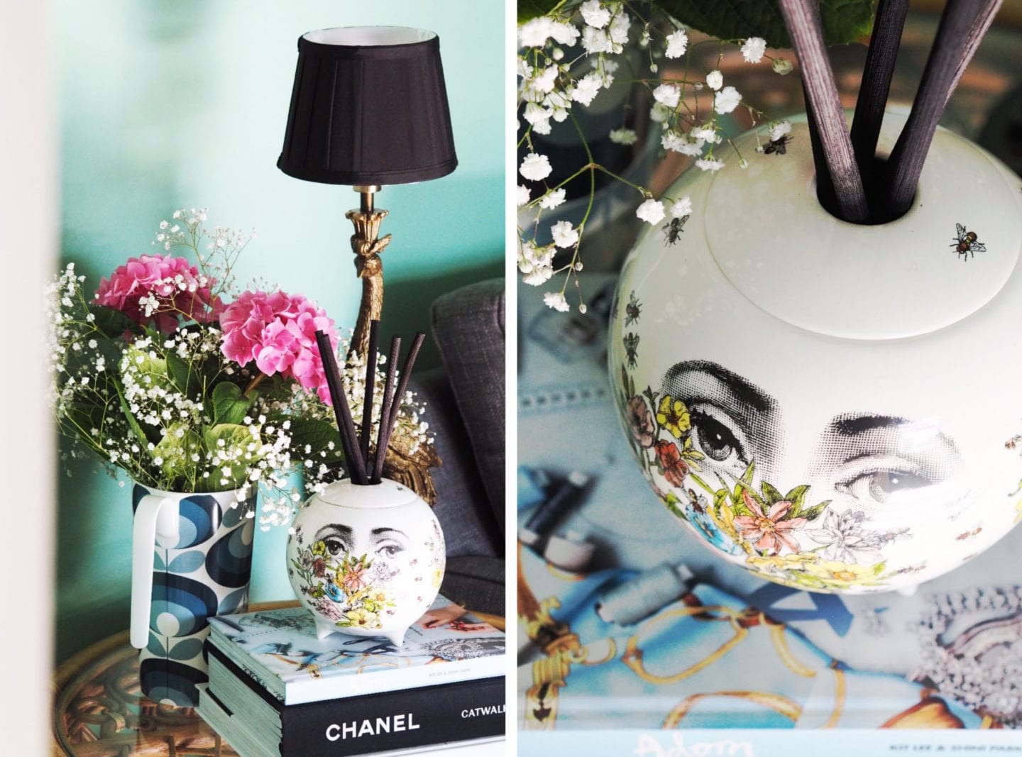 Fornasetti diffuser on coffee table