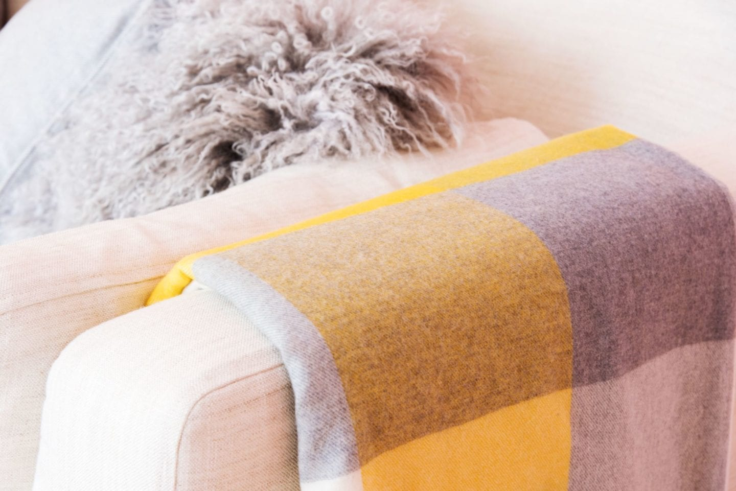 boden yellow check blanket