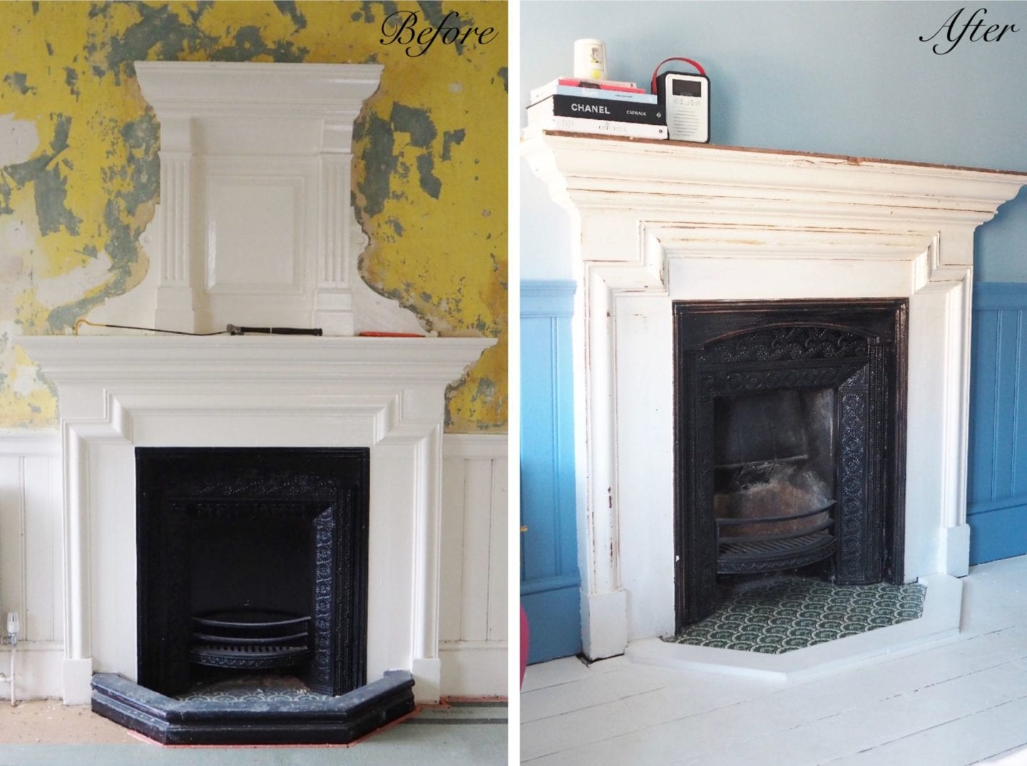 fireplace before and after blogger home renovation