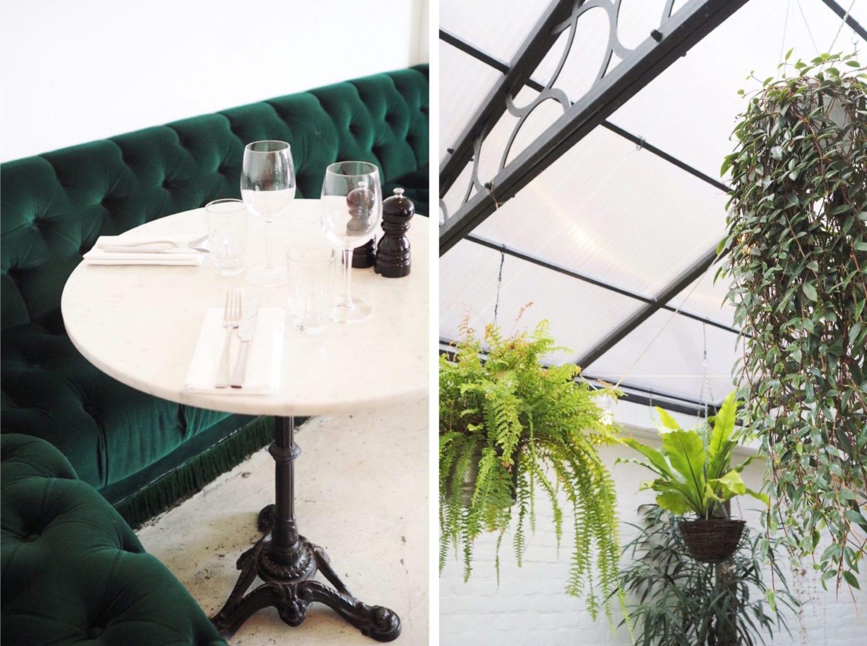 Bourne & Hollingsworth buildings green velvet vintage bench