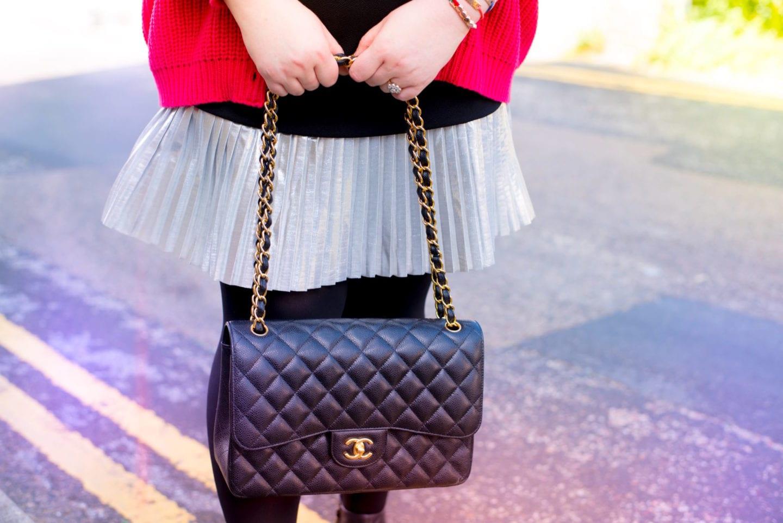 chanel caviar leather handbag black