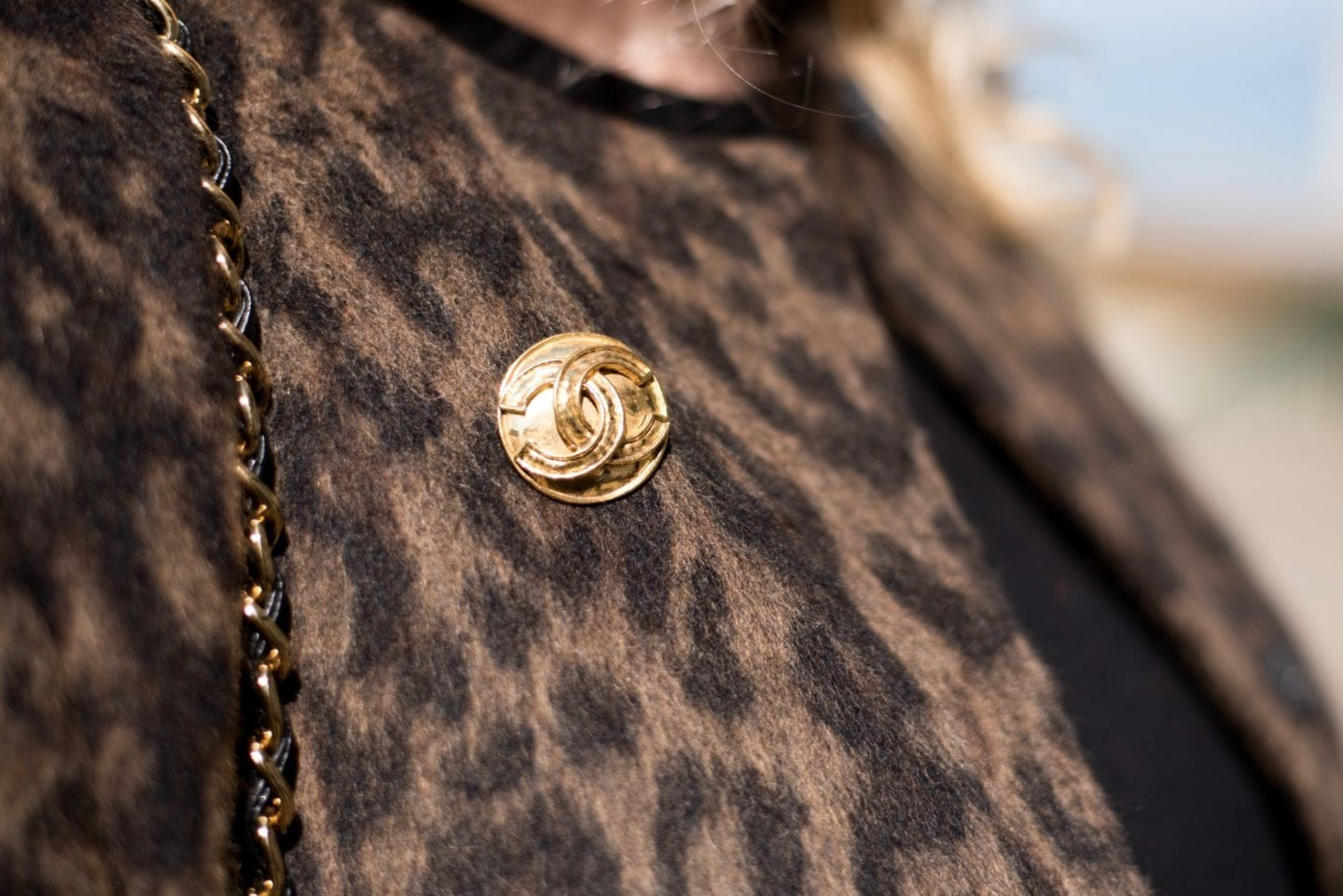 chanel gold tone brooch