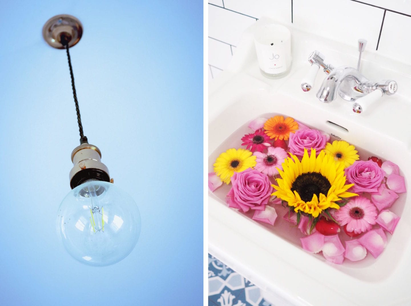 flowers in a sink and blue ceiling