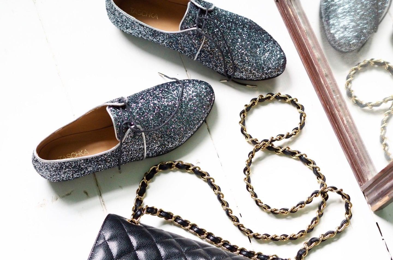 Taschka Black Glitter Shoes