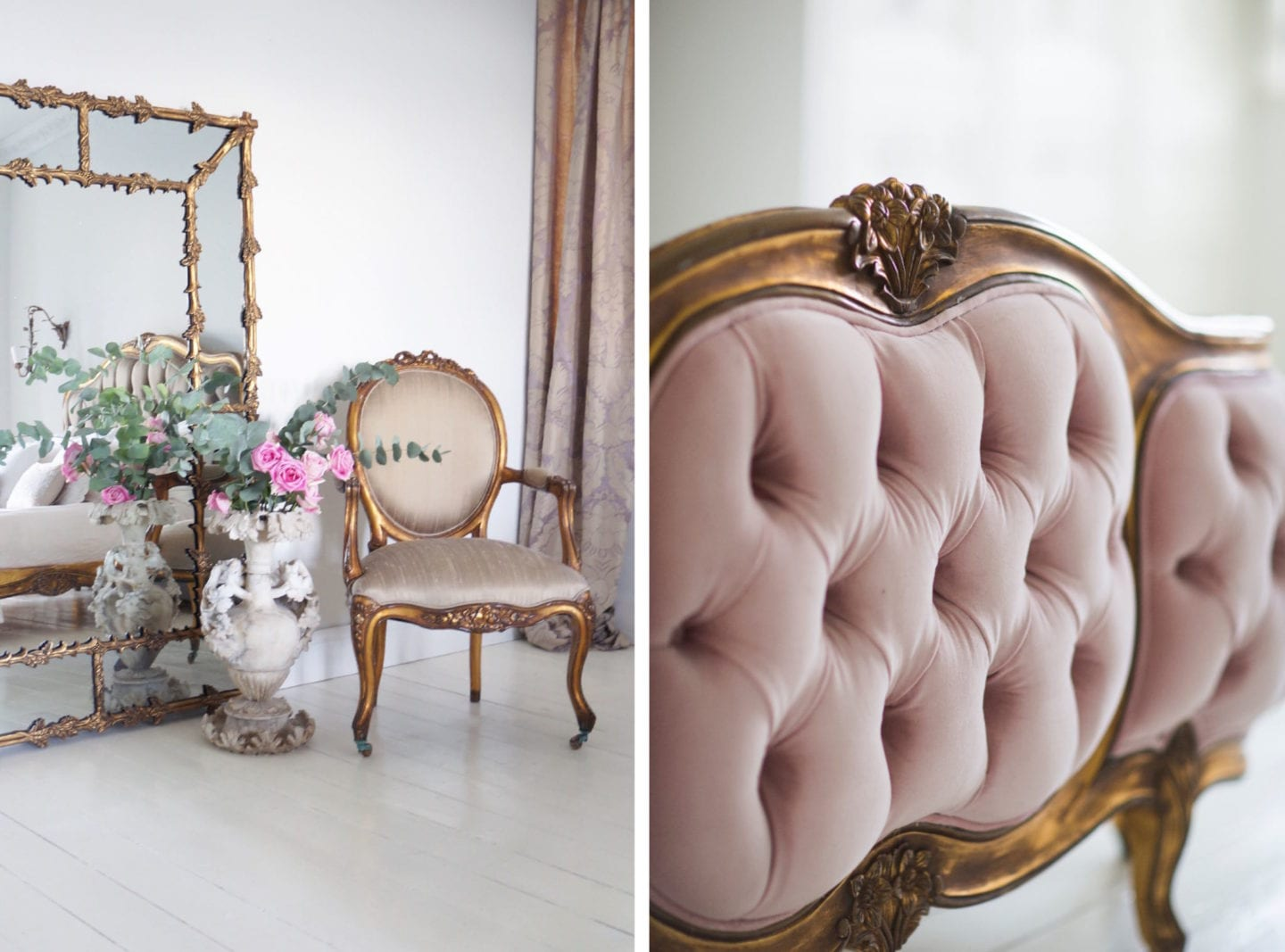 The french bedroom company chair bed detail fabric pink