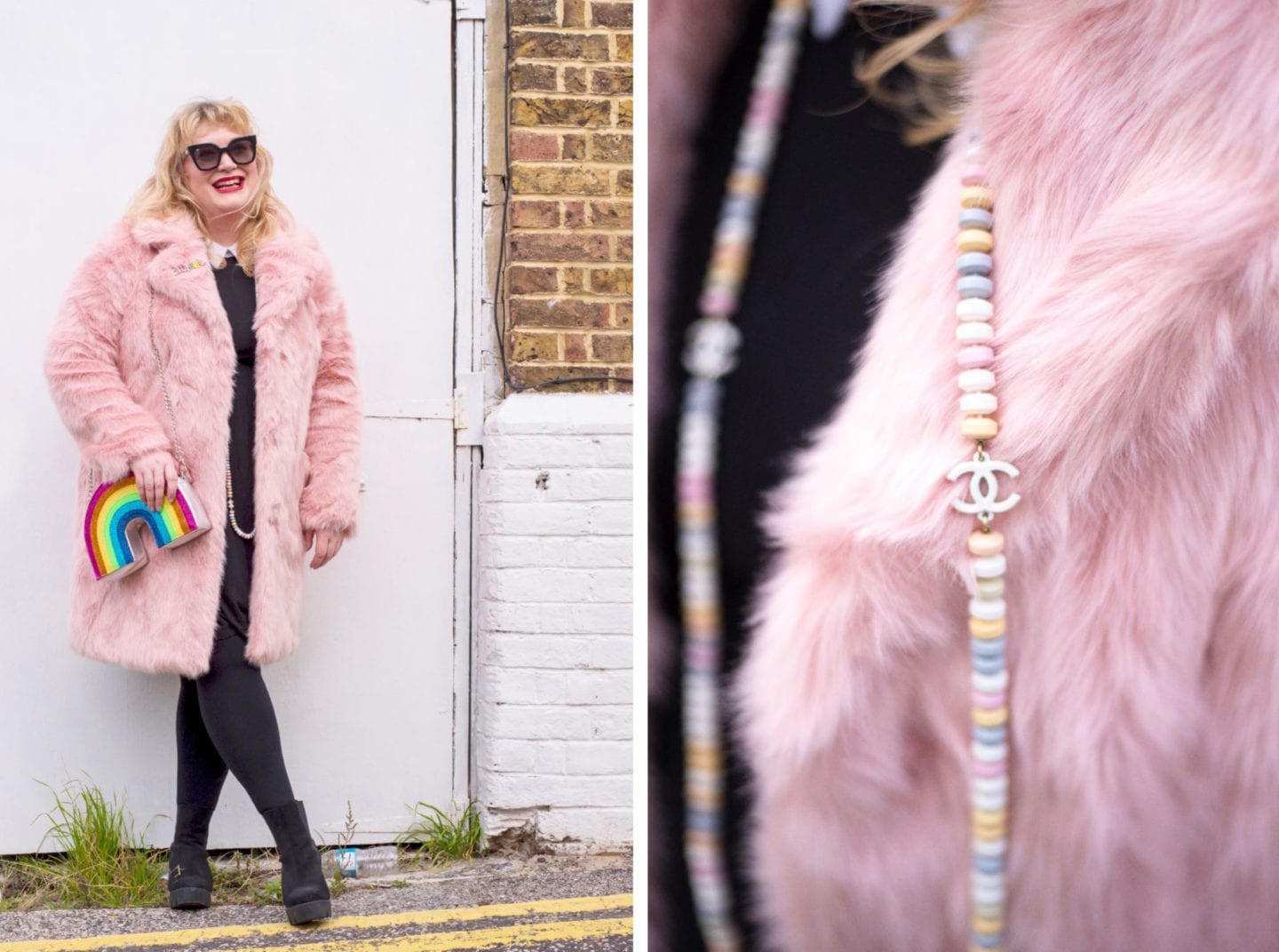 asos pink fur coat