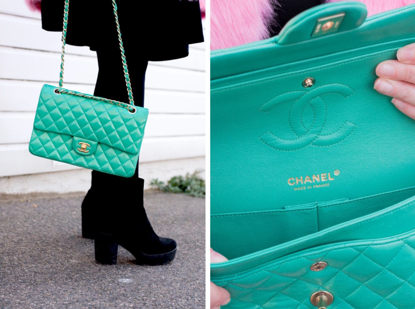 chanel green bag colour transfer