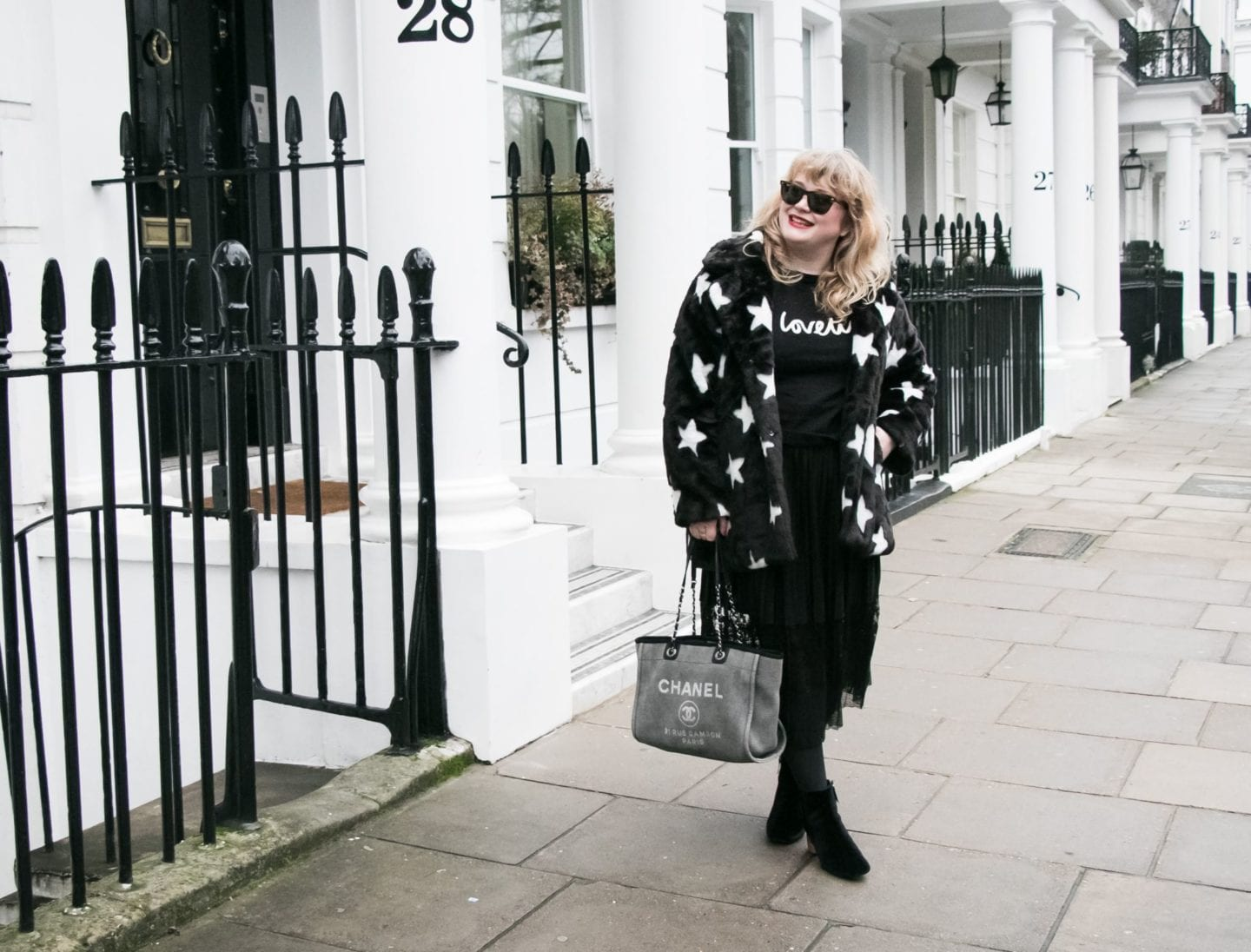 Fashion for Lunch Navabi star print black fur coat